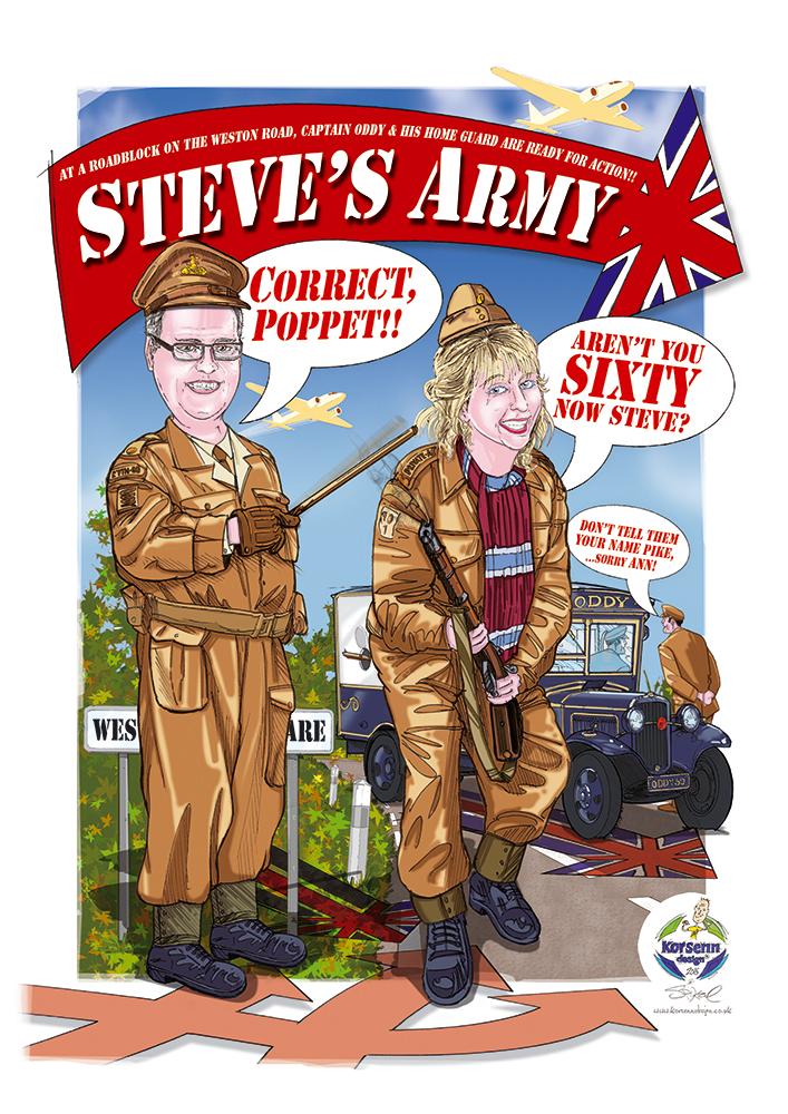 Caricatures and Cartoons Steve Oddys 60th Birthday Steves Army – Army Birthday Cards